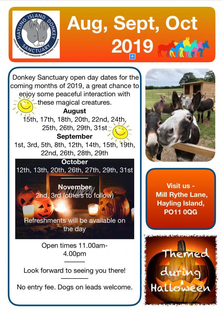 Hayling Island Donkey Sanctuary Open Days August - October 2019